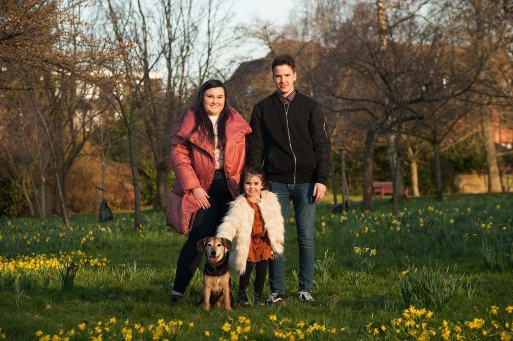 family, dog, kelsey park, daffodils, beckenham