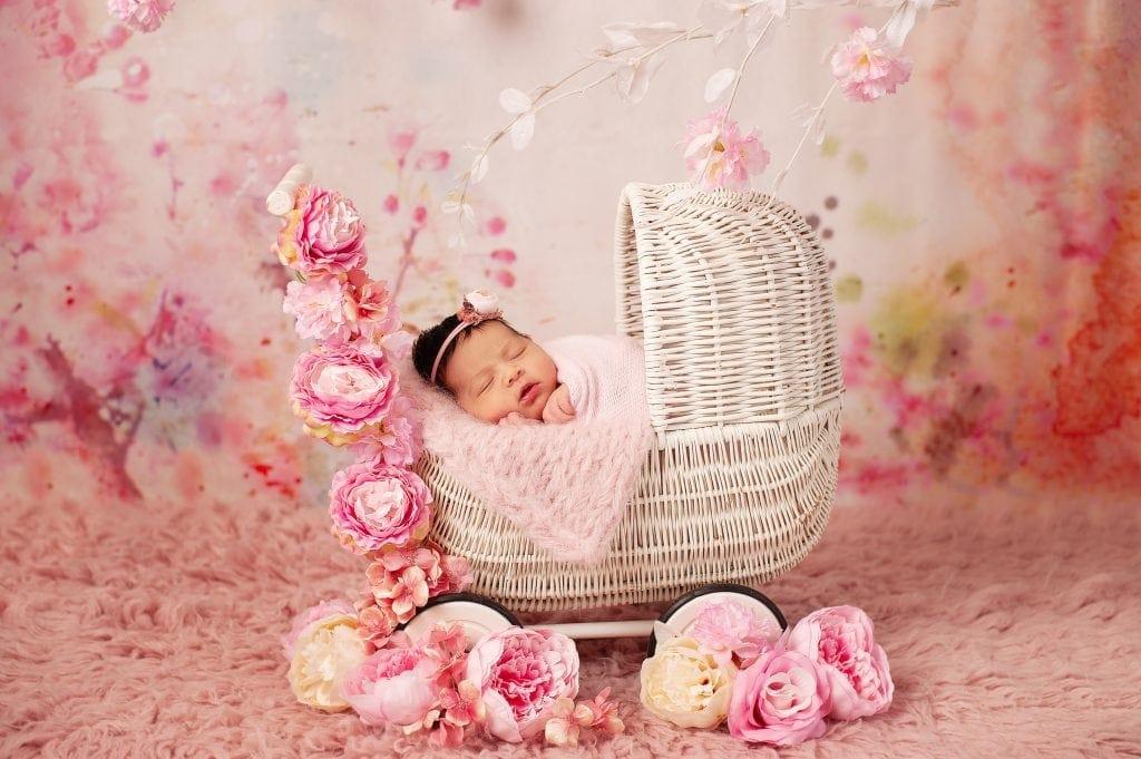 bespoke newborn session, flowers, pink, floral, wicker pram, peonie, baby girl, kent, chislehurst, bexley
