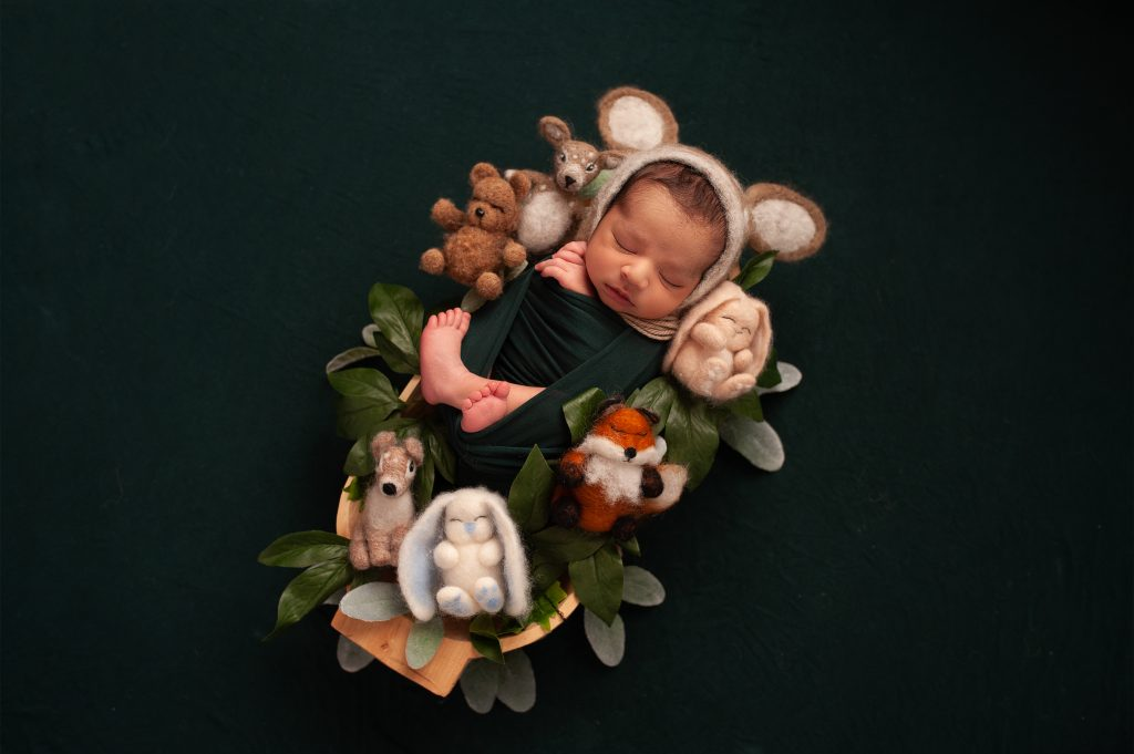 baby boy, forest animals, rabbit, fox, bear, deer, green, leaves, orpington, baby photos, kent