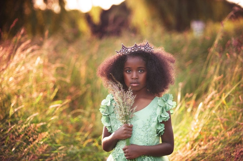 sunset, crown, green dress, wild flowers, long grass, footscray meadows, family photographer, kids pictures, sunset