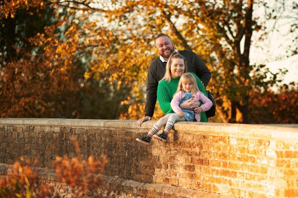 sunset, autumn, family of 3, five arches bridge, photographer bromley,