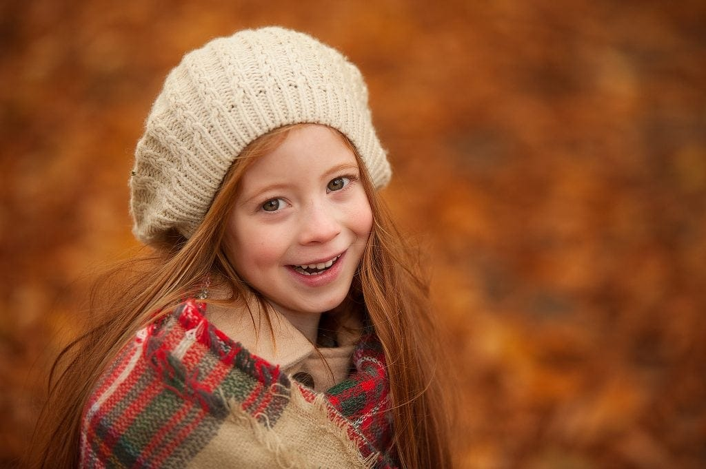 autumn, orange, childrens photography, tartan scarf, red head, knitted hat, family photographer, london, bromley