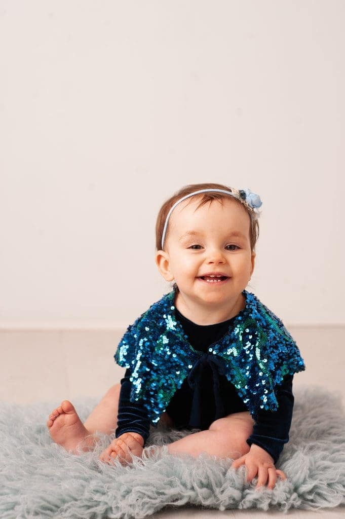 sitting up, milestone, blue, navy, little sitter, white, orpington, kent, london, sequins, cape, little girl