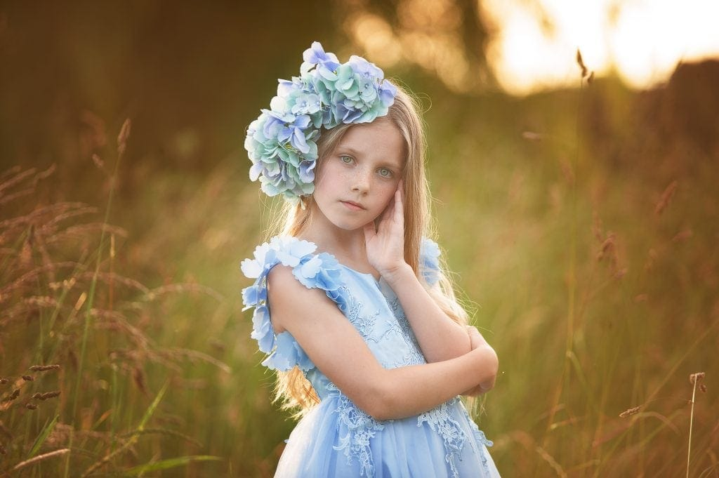 hair flowers, hydrangeas, blue, trish scully dress, blonde hair, childrens pictures, five arches, footscray meadows,