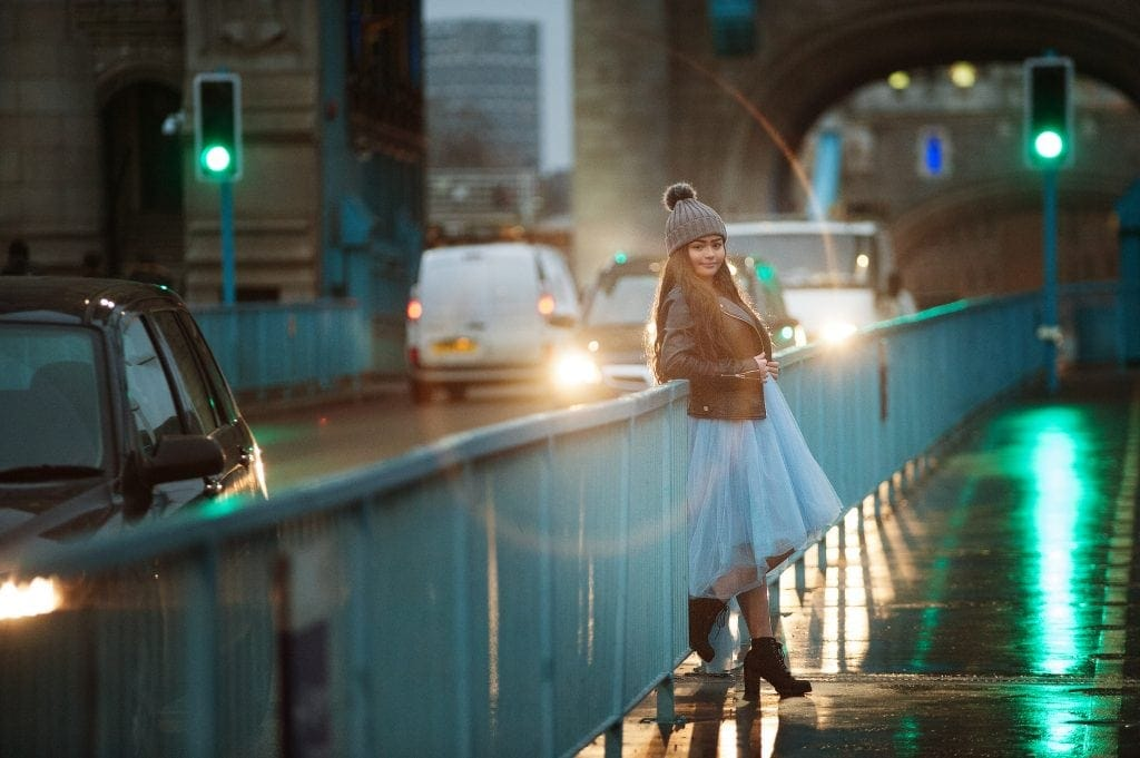 teen pictures, london, tower bridge, traffic lights, chi chi london dress, leather jacket, blue, london photographer