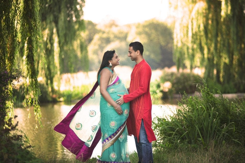 maternity, indian, sari, husband and wife, weeping willows, lake, footscray meadows, new baby