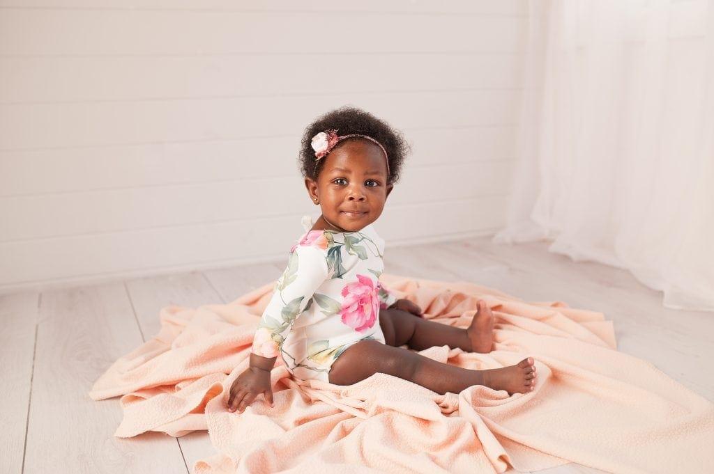 peach, floral, romper, afro, dark skin baby, white, handmade romper, orpington, bromley,