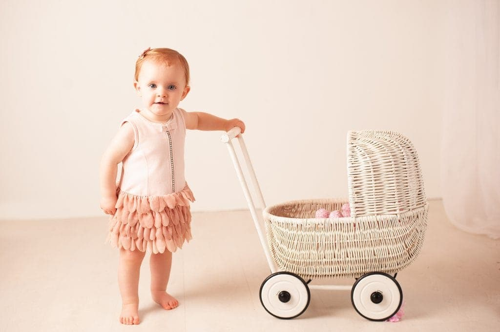 first birthday, wicker pram, little red head, white, peach, orpington, kent
