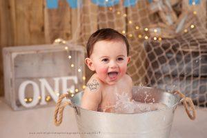 tin bath, splash, sailor, beach, surfer, first birthday, bromley, ashleigh shea photography
