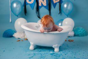 blue, tub time, bath, cookie monster, cake smash and splash, ashleigh shea photography, london