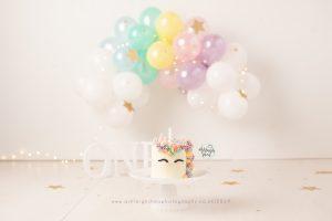 pastel rainbow, unicorn, white, balloon garland, rainbow balloon, one, cake smash kent, stars, first birthday ideas