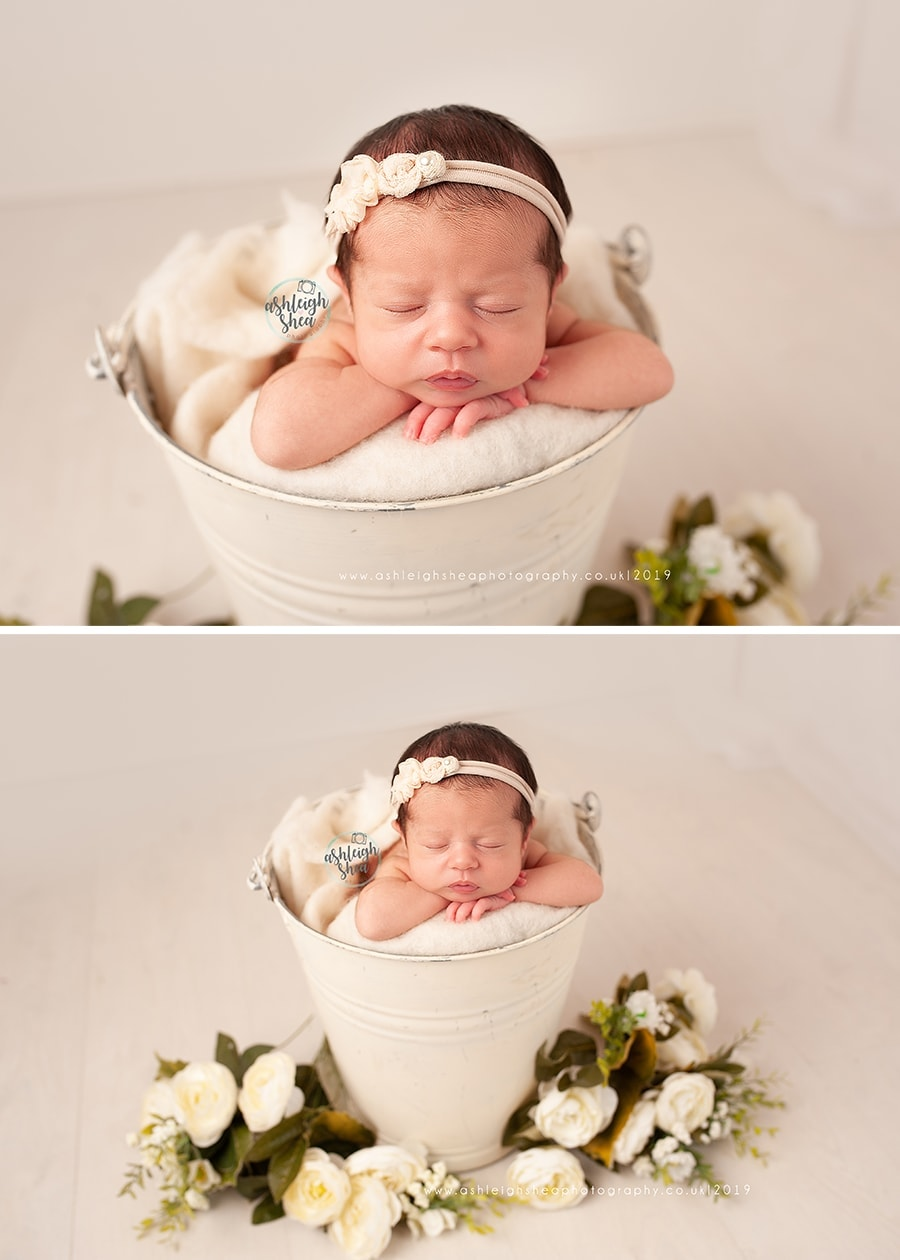Ashleigh Shea Photography, Newborn Session Bromely, Cream Bucket, Flowers, Baby Photos, Kent, Baby Girl, Darcy