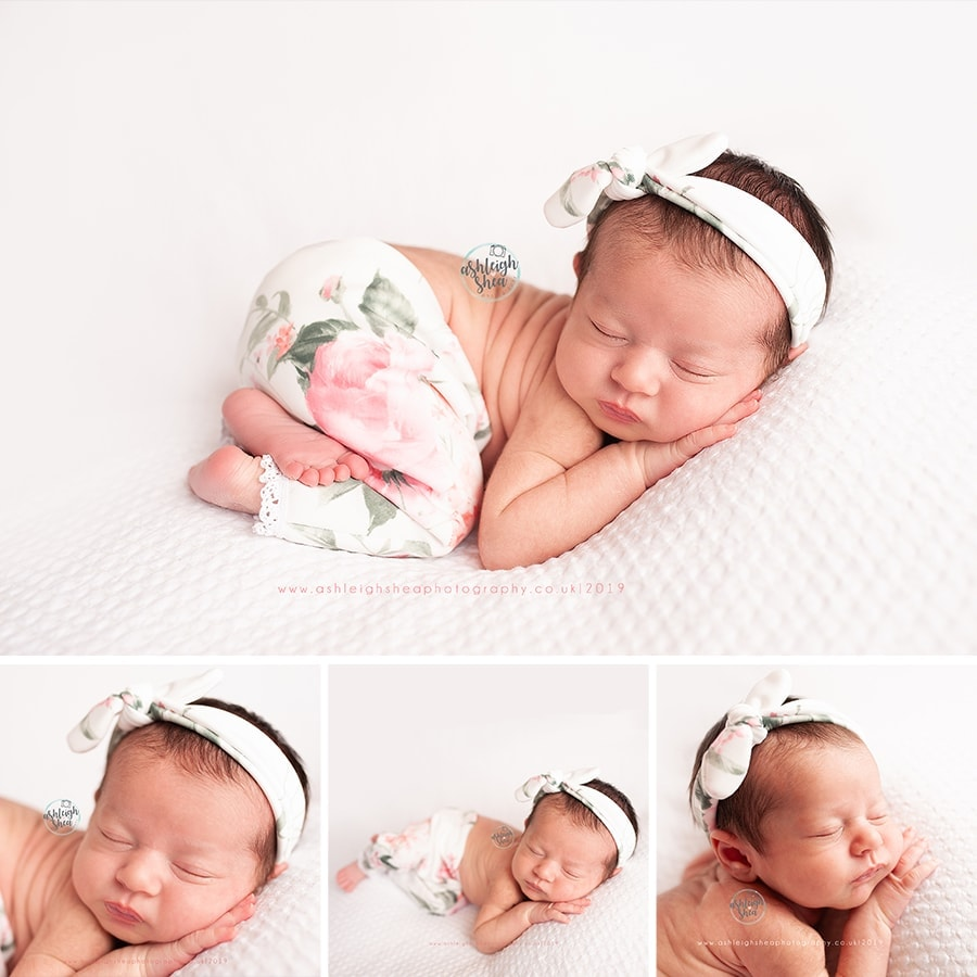 Created By Carli, Newborn Photography, White, Pink Roses, Knot Headband, Ashleigh Shea Photography, Baby Photos, Orpington, Kent, Newborn Session Bromley
