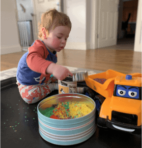 rainbow rice play, toddler play, at home fun with little ones