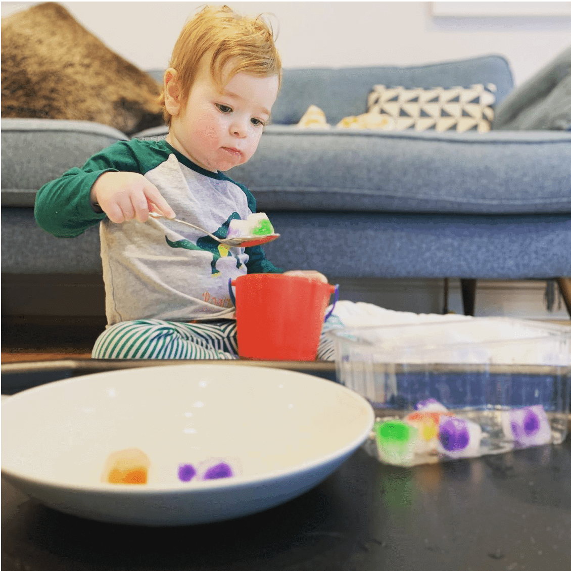 2 of 3 Sensory Play Activities for Your Toddler, ice, pom poms, ice cubes, scoop