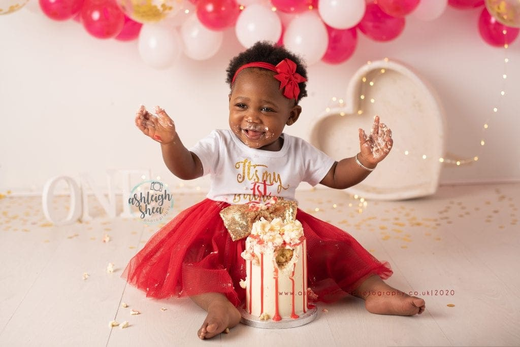 First Birthday, Cake Smash, Red, Gold, White Balloon Garland, Ashleigh Shea Photography, Bromley, London
