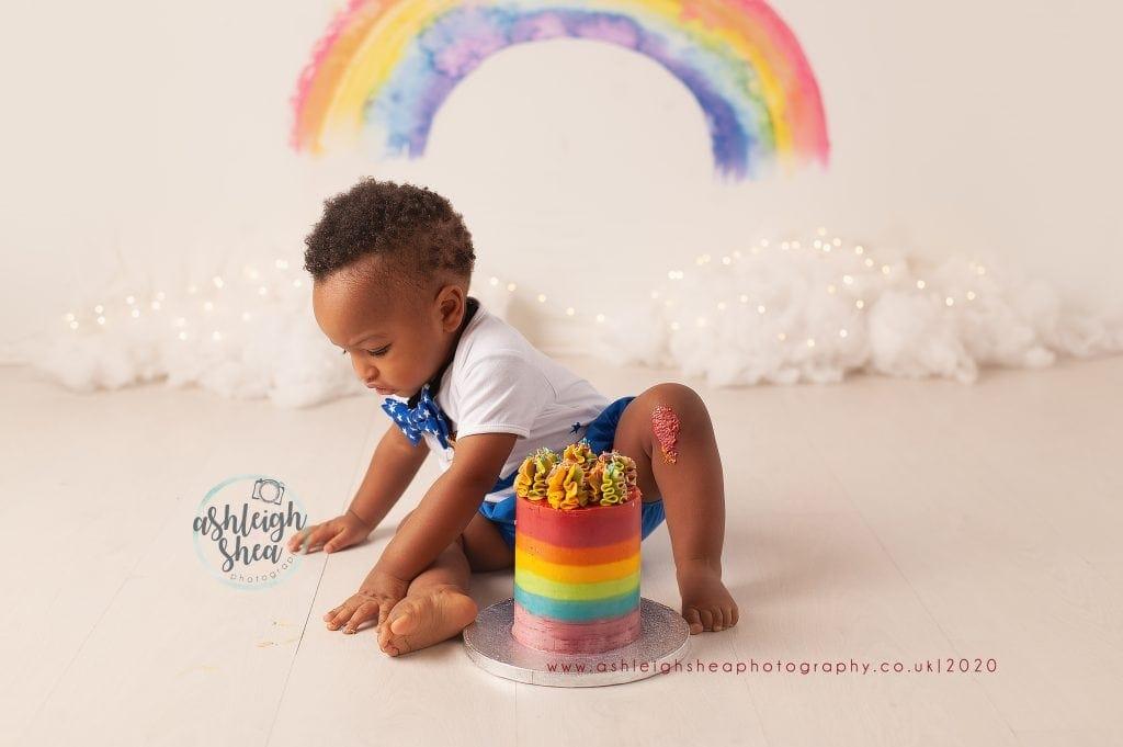 Rainbow Baby, Rainbow Backdrop, First Birthday, Cake Smash, Ashleigh Shea Photography, Chislehurst, Kent