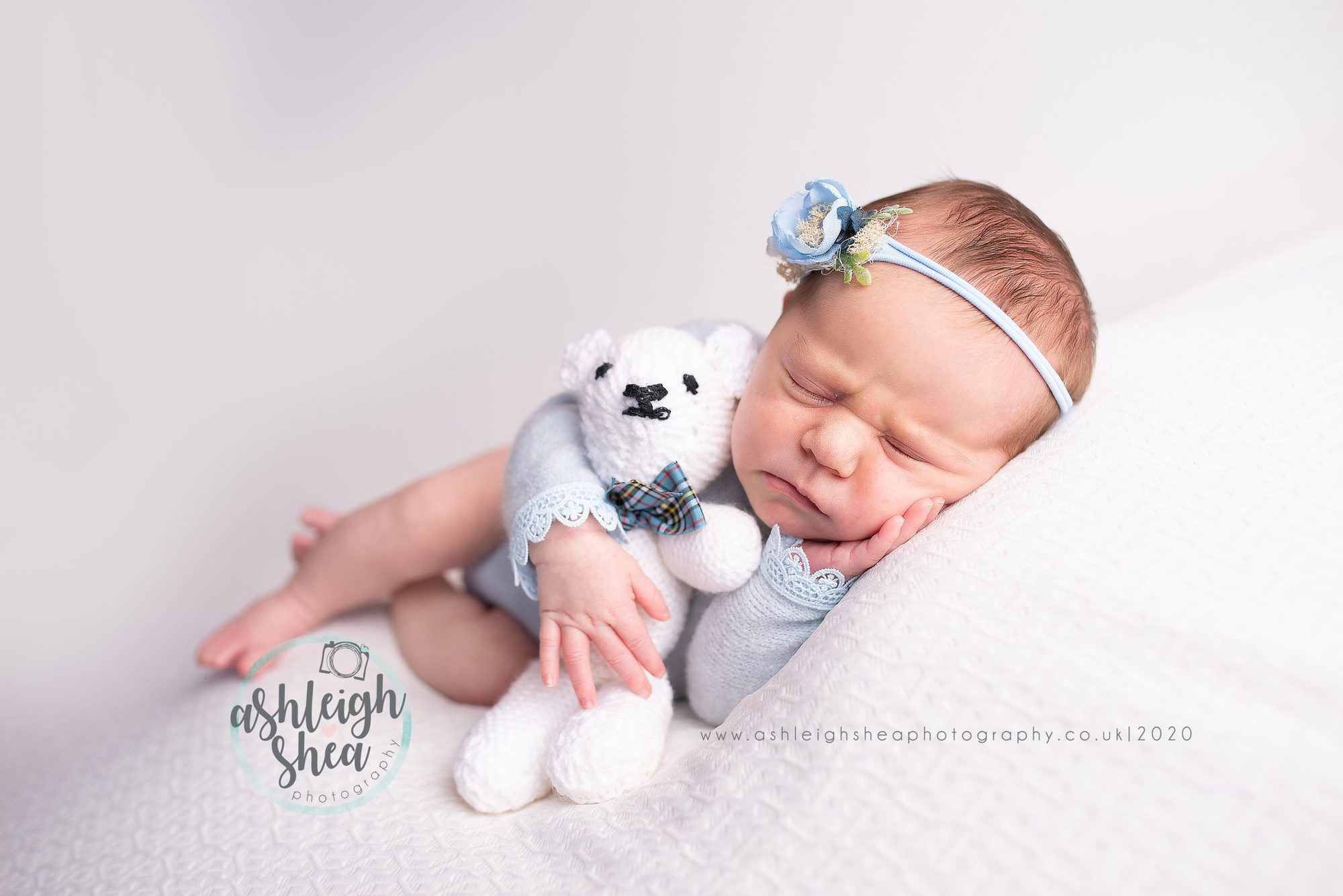 Handmade bear, knitted by nan, baby blue, baby girl, ashleigh shea photography, orpington, london