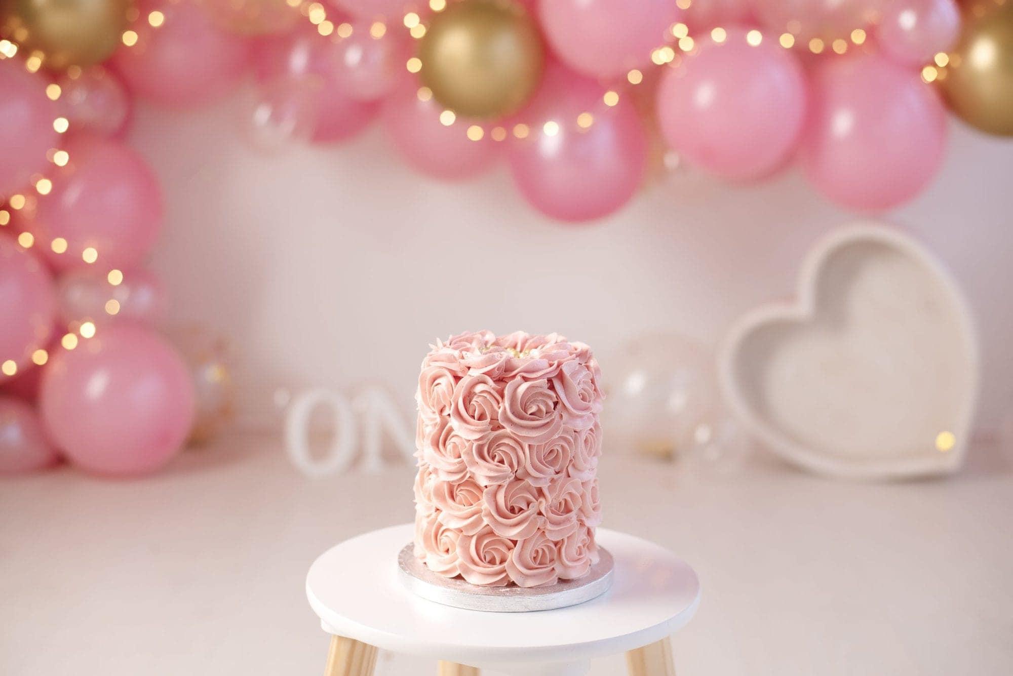 Pink, Gold, Balloon Garland, Fairy Lights, Heart Bowl, Rose Cake, Pink Cake, Cake Smash, Ashleigh Shea Photography