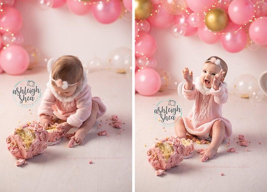 Cake Smash, Balloon Garland, Pink, Gold, White, Ashleigh Shea Photography, Bromley, Kent, Cake Smash Photographer