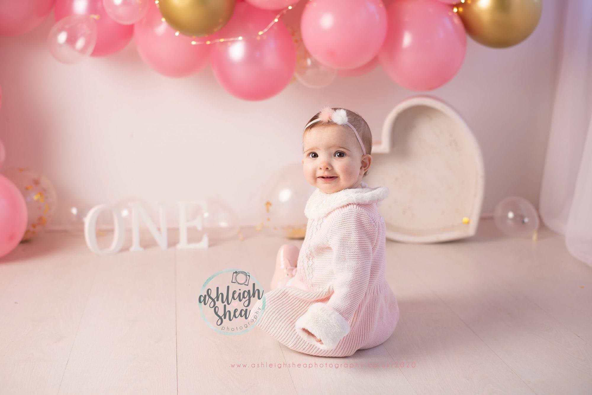 Orpington, Ashleigh Shea Photography, Cake Smash, Pink, Gold, One, Balloon Garland,