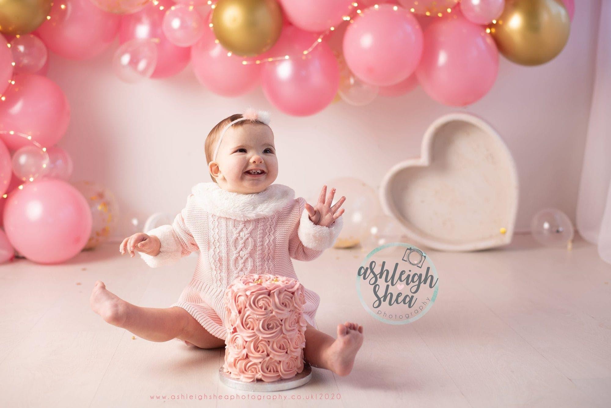Excited, First Birthday, Little Girl, Cake Smash, London, Kent Photographer, Ashleigh Shea Photography