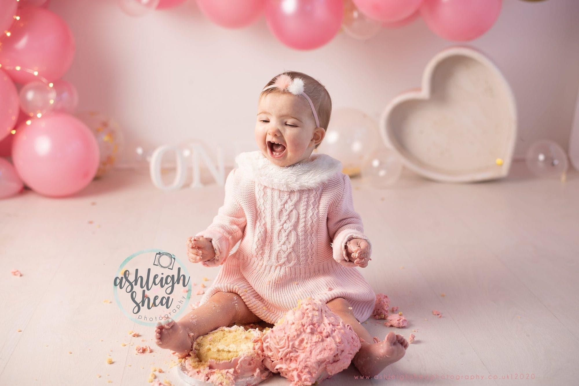 Happy, Baby Girl, Toddler, Cake, Cake Smash Photographer, Pink and Gold, Ashleigh Shea Photography, Bromley