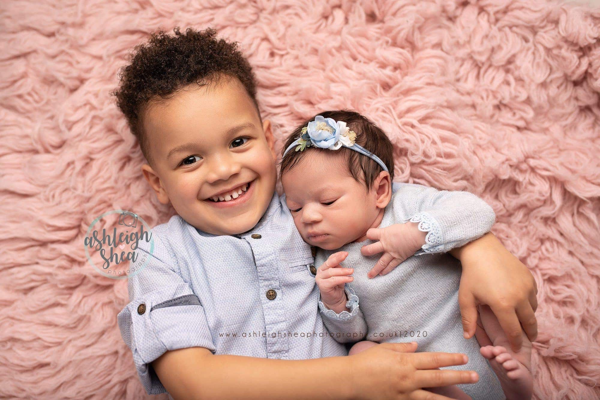 Siblings, Big Brother, Little Sister, Pink, Blue, Ashleigh Shea Photography, Newborn Pictures, Bromley,