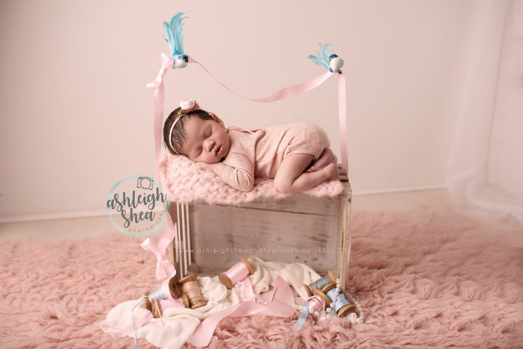 London Photographer, Cinderella Inspired Newborn Picture, Cinders, Blue Birds, Beads, Pink, Ivy and Nell,