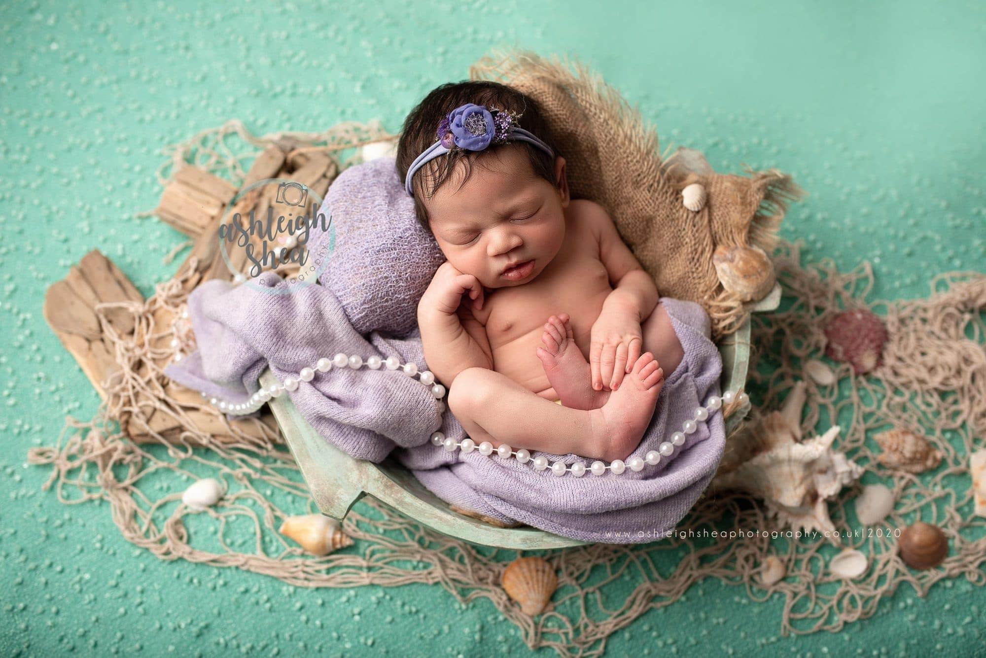 Little Mermaid, Disney Inspired, Ariel, Shells, Mermaid, Ashleigh Shea Photography, Baby Photos, London