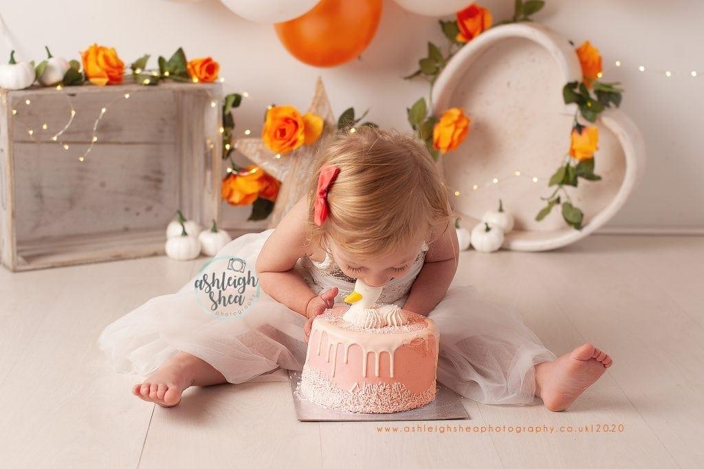 Second Birthday, Cake Smash, Orange, Gold, Balloon Garland, Ashleigh Shea Photography, Bromley, London