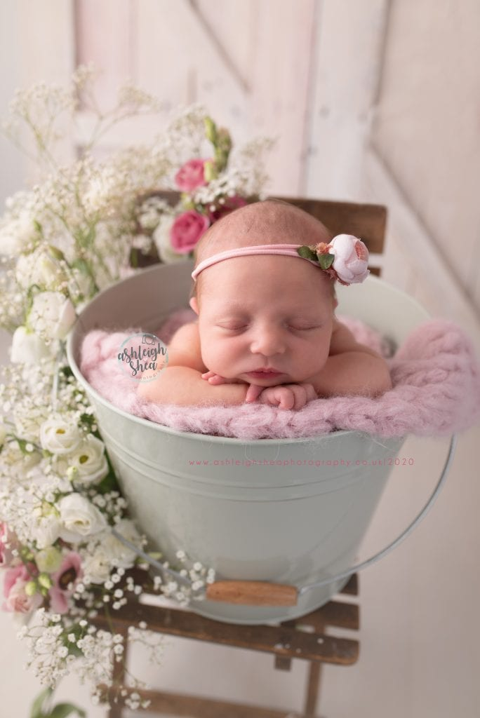 Babys breath, roses, pink roses, white roses, floral, bucket, vintage chair, barn doors, baby girl, newborn, ashleigh shea photography, bromley, kent
